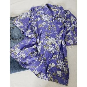 Free People Perwinkle Floral Tropical Blouse sz Md